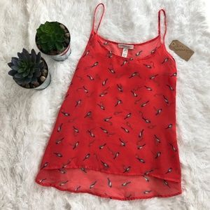 Ambiance Apparel Coral Bird Patterned Tank Top
